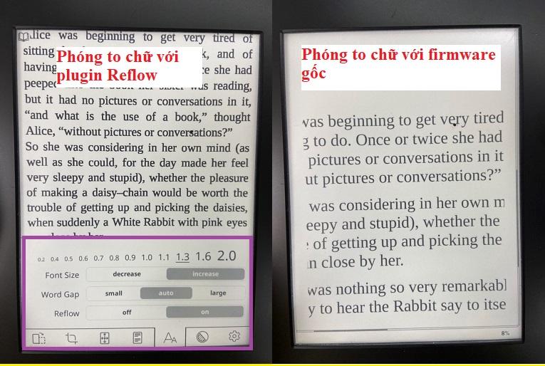 Sử dụng chức năng reflow pdf trên koreader kindle