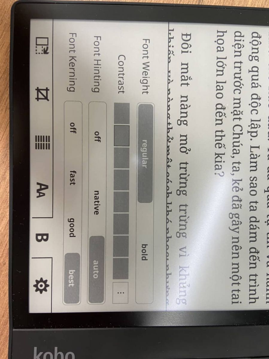 Điều chỉnh độ đậm nhạt của chữ trên Koreader Kobo